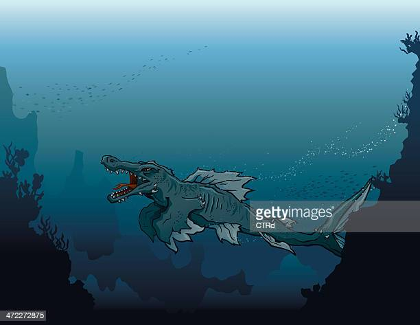 Sea Monster Swimming in Deep, Dark Water