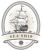 vintage sea ship emblem