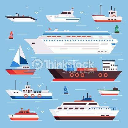 Barcos De Mar Lancha Barco De Dibujos Animados Del Trazador De