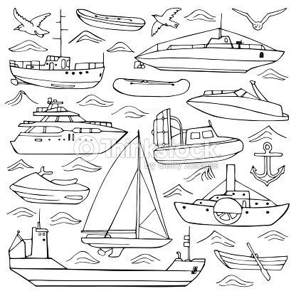 conjunto de desenhos de transporte marítimo arte vetorial thinkstock