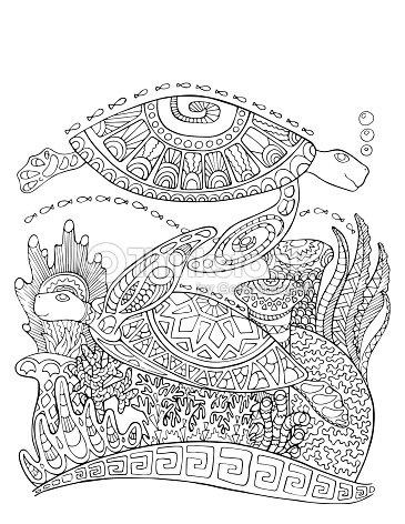 Tortugas Marinas Doodle Estilo Página Para Colorear Ilustración De ...