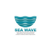 Sea wave design vector template
