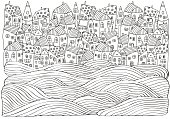 Sea Waves and houses. Seaside, homes, boat, sea, art background. Hand-drawn doodle vector. Black and white pattern for adult coloring book.