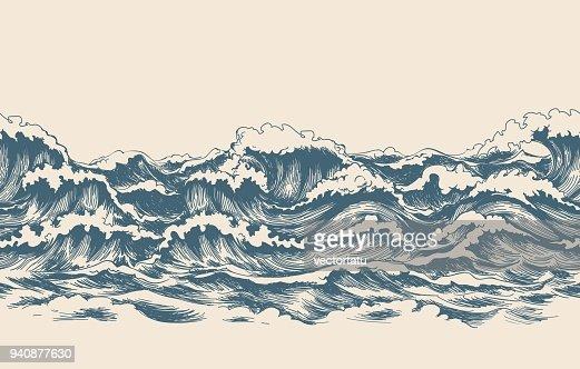 Sea waves sketch pattern : stock vector