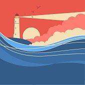 Sea waves with lighthouse.Vector nature poster of seascape for text