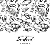 Seafood hand drawn vector illustration. Crab, lobster, shrimp, oyster, mussel, caviar and squid. Engraved style vintage template. Fish and sea food restaurant menu, flyer, card, business promote