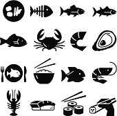 Sushi and seafood icon set. Professional vector icons for your print project or Web site. See more in this series.