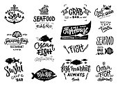 Set of hand drawn watercolor labels and badges of seafood. Vector illustrations for graphic and web design, for restaurant, menu, fish market.