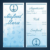 Seafood menu template with ancor and rope