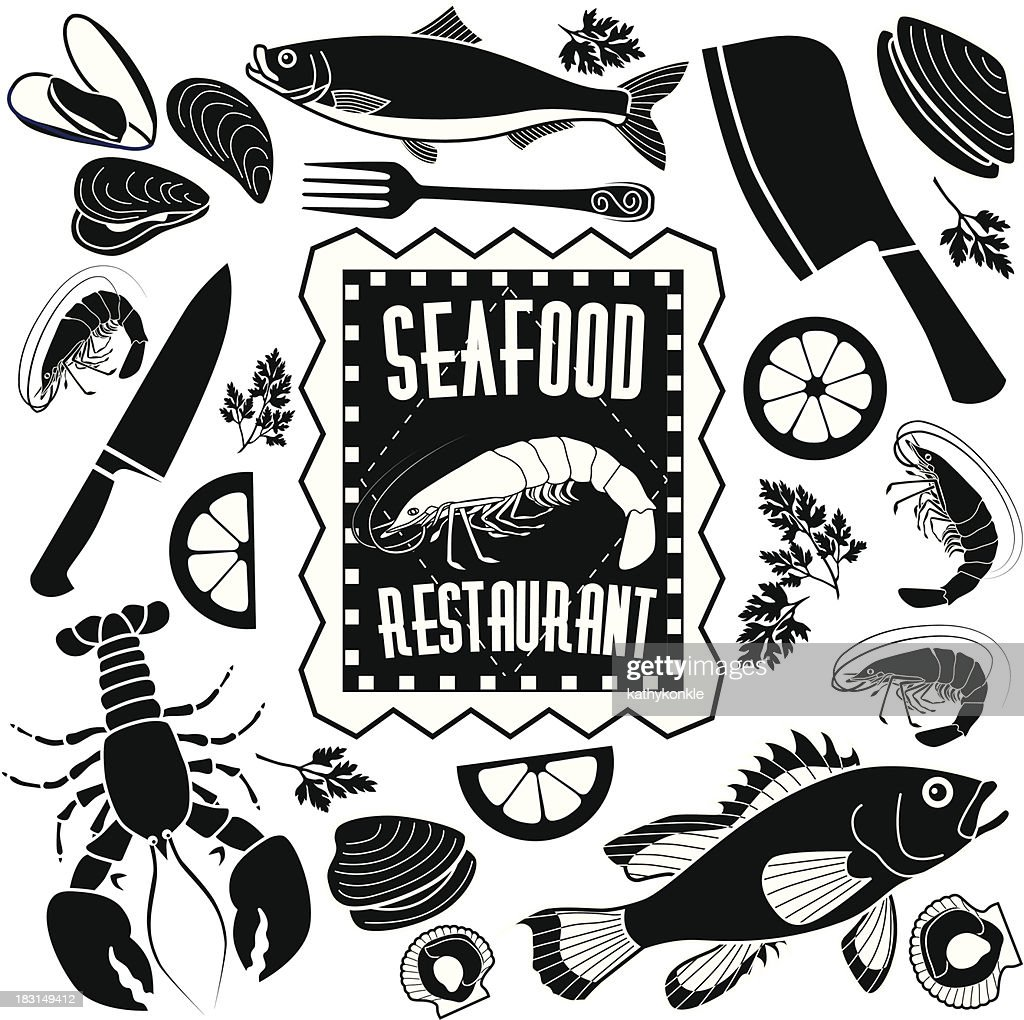 Seafood restaurant design elements vector art getty images