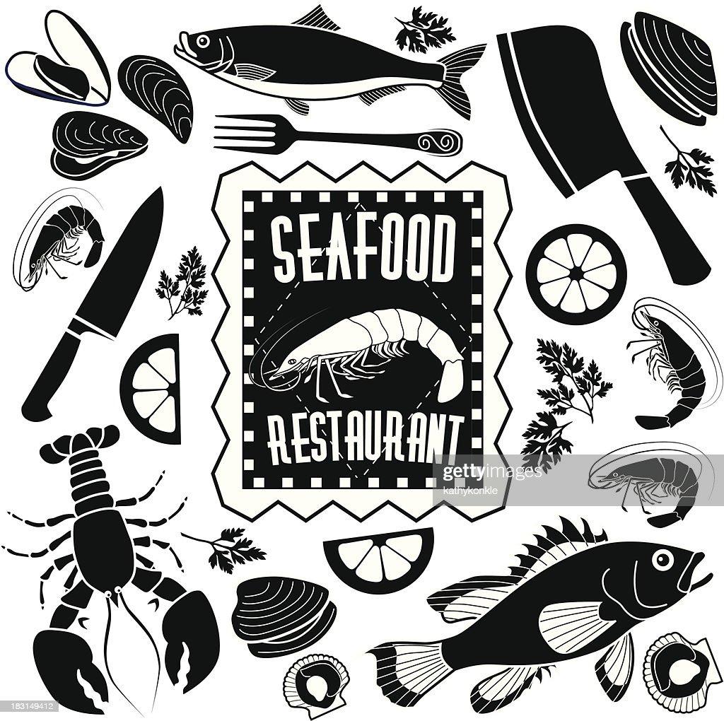 Éléments de design restaurant poissons et fruits mer