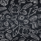 Vector hand drawn seafood seamless pattern with mussel, fish salmon and shrimp. Lobster, squid, octopus, scallop, lobster or craps, mollusk, oyster, alfonsino and tuna for product market, white on bla