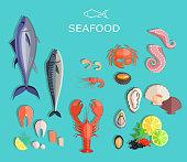 Seafood set design flat fish and crab. Seafood fish, seafood platter, lobster and crab, food oyster, fresh seafood, shrimp and menu seafood, octopus animal, shellfish lemon, fresh seafood illustration
