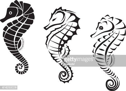Seahorse Tribal Tattoo : Vector Art