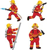 Set of firemans vector illustration.