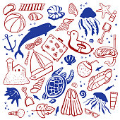 Sealife and beach objects. Vector outline hand drawn isolated illustration set red and blue on white background
