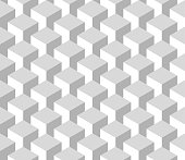 Seamless 3D geometrical pattern of cube columns. Abstract design vector background in shades of grey.