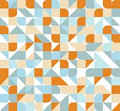 Vector seamless square triangle circle geometric pattern, orange and blue