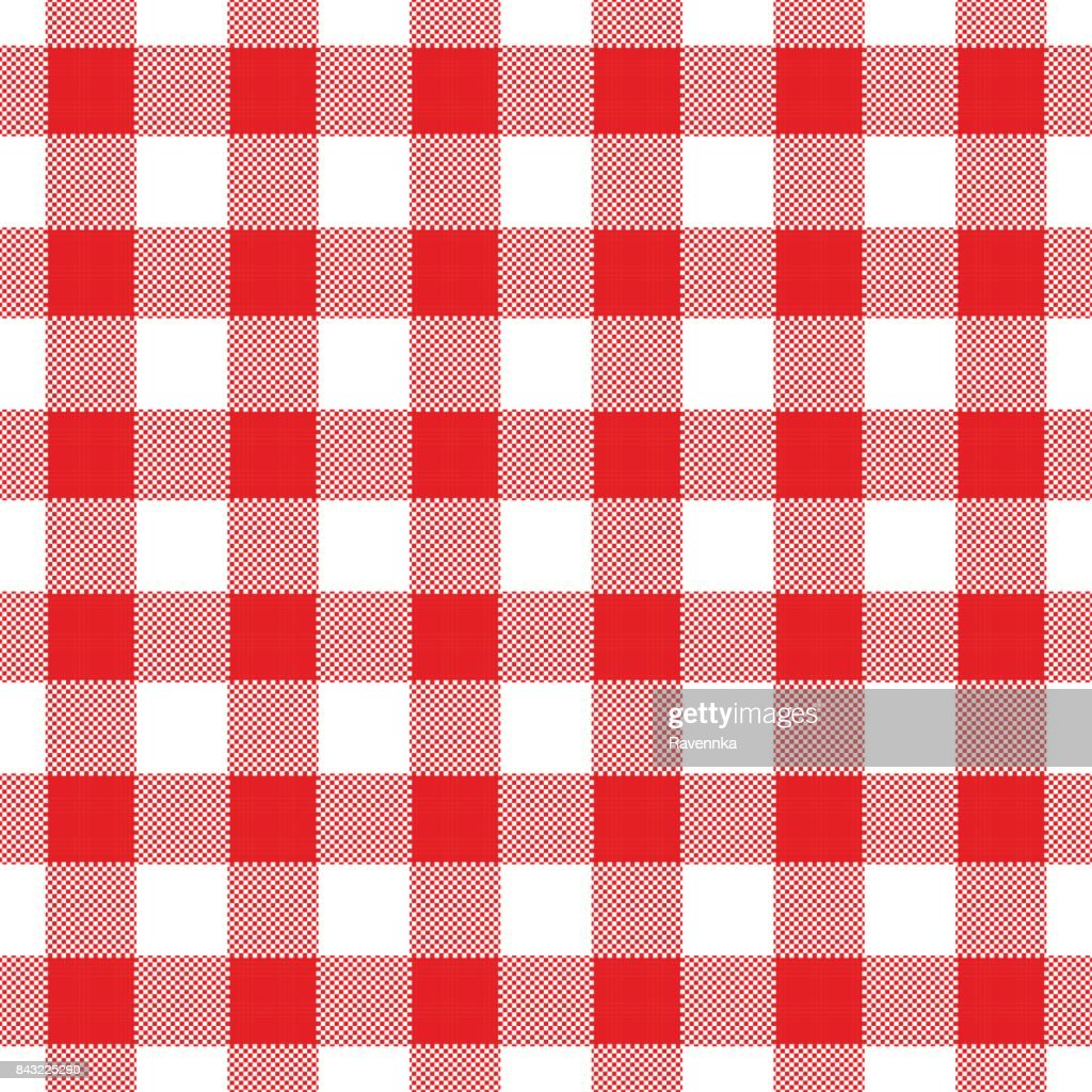 Seamless Abstract Illustration Of Red Chechkered (gingham) Table Cloth :  Vector Art