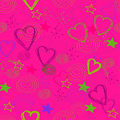 Illustration.  Seamless background: hearts, stars and other doodles on a pink background
