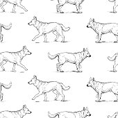 Vector pattern of sketches of shepherd dogs.