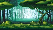 A high quality horizontal seamless background of landscape with deep forest.