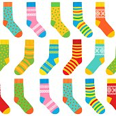 seamless background of multi-colored socks with patterns and stripes