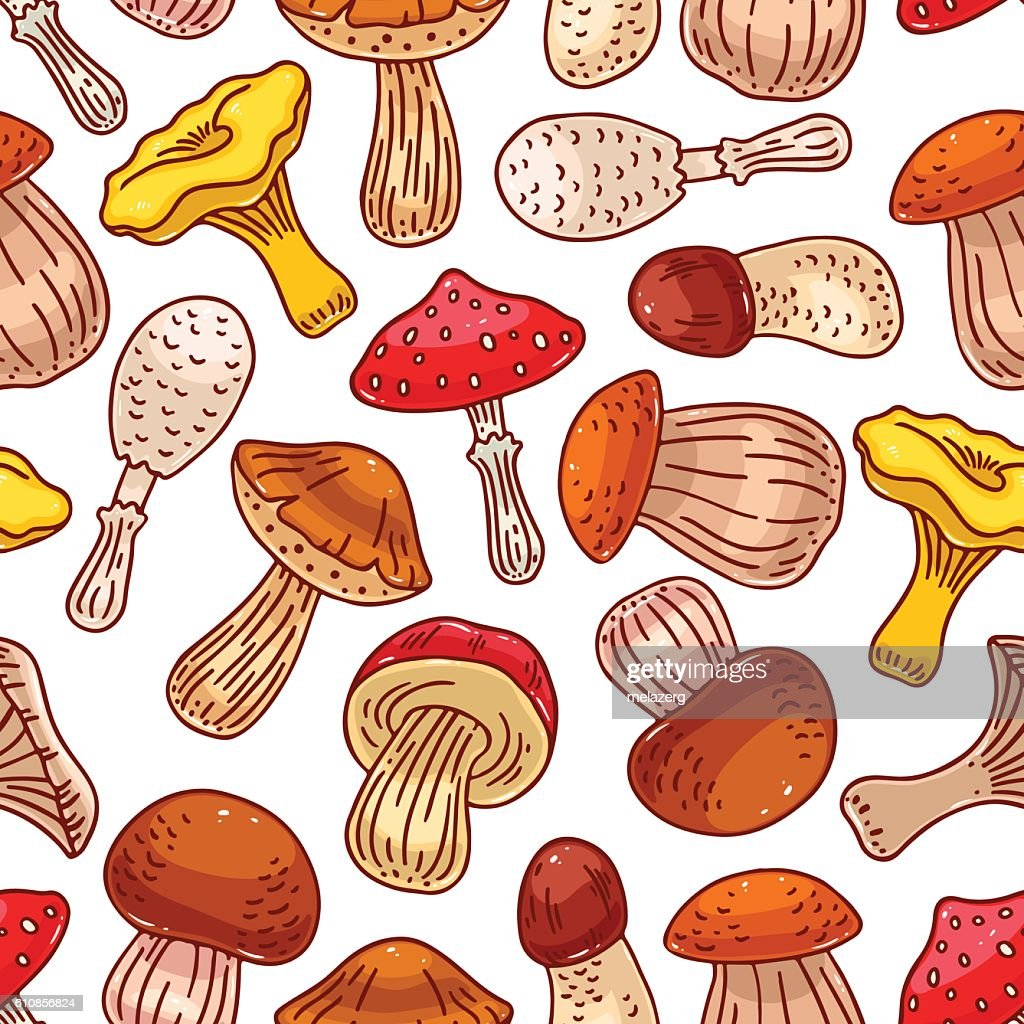 seamless background of mushrooms