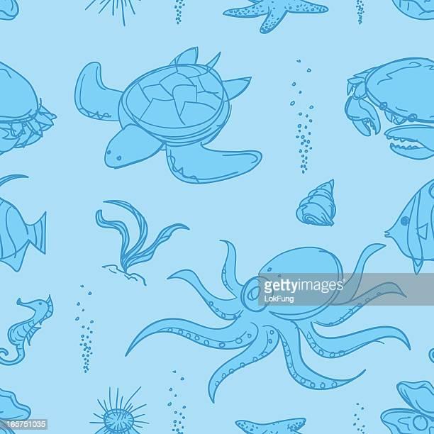 Seamless background - Sea life
