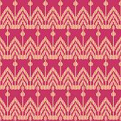 Seamless background southeast Asian retro aboriginal traditional art textile pattern geometry cross straight line frame