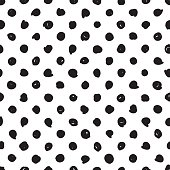 hand drawn polka dot black and white vector hipster tiles pattern. Abstract scribble seamless monochrome pattern wallpaper or background