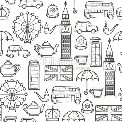 Seamless Background With Cute Hand Drawn Cartoon Objects On London stock vector | Thinkstock