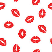 seamless background with the imprint kisses