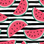 Seamless background with watermelon slices on black and white watercolor stripes. design for holiday greeting card and invitation of seasonal summer holidays, summer beach parties, tourism and travel.
