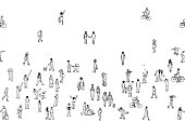 Tiny pedestrians, people in the street, a diverse collection of tiny hand drawn men and women walking through the city