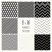 Seamless geometric hipster background set.  Black and White Seamless Patterns. Pattern swatches are available