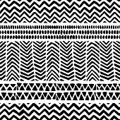 seamless black and white pattern, ethnic and tribal motifs, hand drawn aztec print