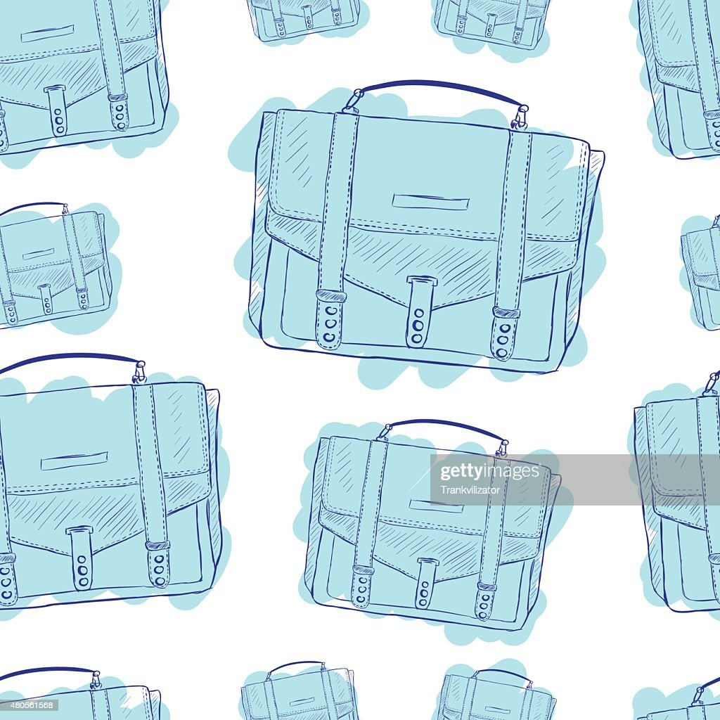 Seamless blue briefcases : Vector Art