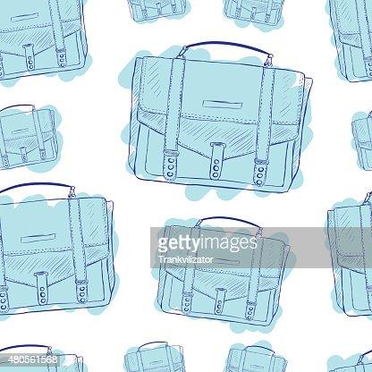 Seamless blue briefcases : Vector Art