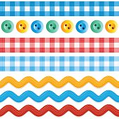 Design elements - seamless (repeatable) borders - red and blue gingham ribbons, ric rac tapes, and sewing buttons.