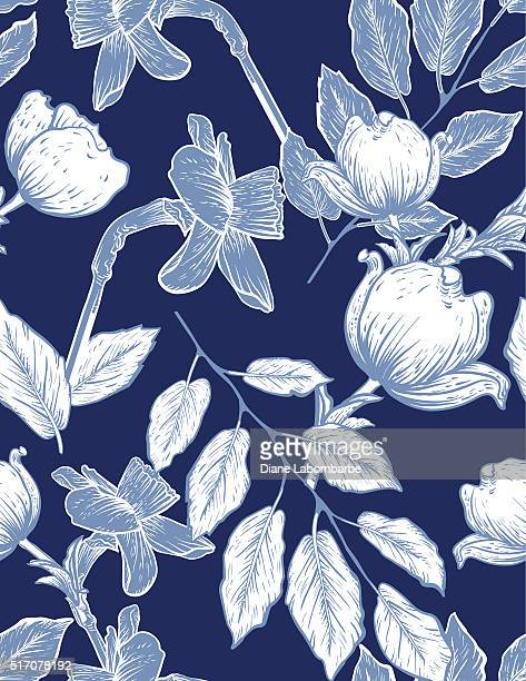 Seamless Botanical Floral Pattern Dogwood and Daffodils