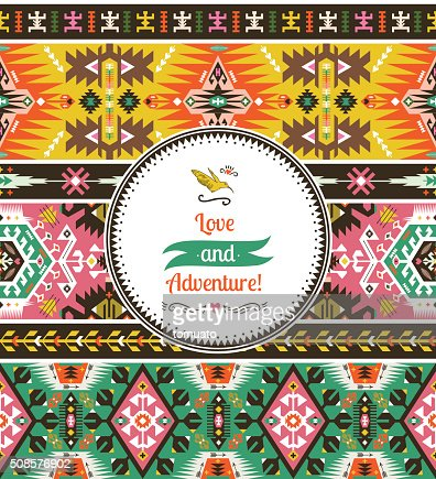 Seamless bright pattern in tribal style : Vector Art