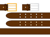 Seamless brown leather belt with metallic silver and golden buckle. Isolated vector illustration