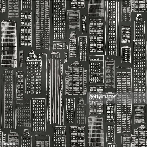 Seamless buildings blackboard background