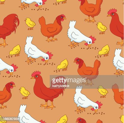 seamless chickens and roosters pattern : Vector Art