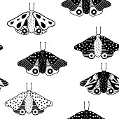 Seamless childish pattern with butterfly. Creative blackand white kids texture for fabric, wrapping, textile, wallpaper, apparel. Vector illustration