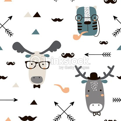 Seamless Childish Pattern With Cute Animal Faces In Hipster Style