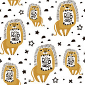 Seamless childish pattern with cute cartoon lions. Creative kids texture for fabric, wrapping, textile, wallpaper, apparel. Vector illustration