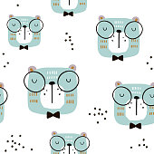 Seamless childish pattern with cute cats faces. Creative scandinavian style kids texture for fabric, wrapping, textile, wallpaper, apparel. Vector illustration