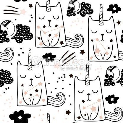 Seamless Childish Pattern With Cute Fairy Cat Unicorn Creative